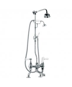 "Classic White Lever Bath Shower Mixer with Riser Kit, Lever Diverter, Hand Shower & 5"" Rose"