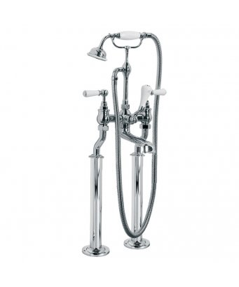 Lefroy Brooks Classic White Lever Bath Shower Mixer With Standpipes
