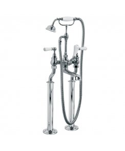 Classic White Lever Bath Shower Mixer With Standpipes