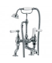 Classic White Lever Deck Bath Shower Mixer