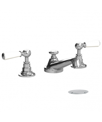 Lefroy Brooks Classic White Lever Three Hole Basin Mixer with Pop-Up Waste
