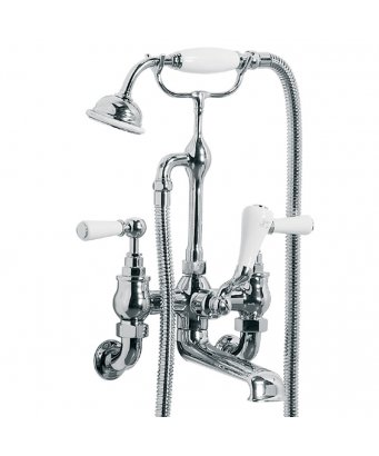 Lefroy Brooks Classic White Lever Wall Mounted Bath Shower Mixer