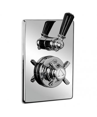 Lefroy Brooks Concealed Black Lever Thermostatic Mixing Valve