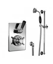 Concealed Black Lever Thermostatic Mixing Valve with Sliding Rail & Handset