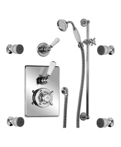 Concealed Godolphin Thermostatic Mixing Valve with Four Body Jets & Sliding Rail (Order Handset Seperately)
