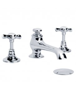 Connaught Three Hole Basin Mixer with Pop-Up Waste