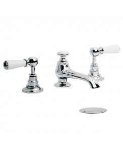 Connaught White Lever Three Hole Basin Mixer with Pop-Up Waste