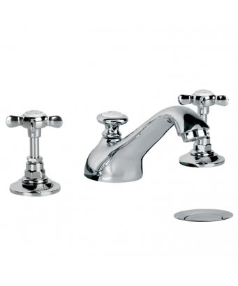Lefroy Brooks Edwardian Three Hole Basin Mixer with Pop-Up Waste