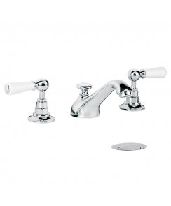 Edwardian White Lever Three Hole Basin Mixer with Pop-Up Waste