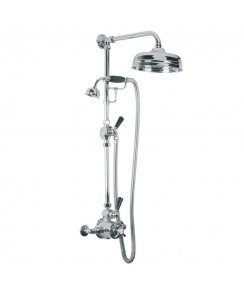 "Exposed Black Lever Thermostatic Valve with Riser Kit, Handset, Lever Diverter, 8"" Rose & Adjustable Riser Pipe Bracket"