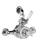 Lefroy Brooks Exposed Dual Control Godolphin Thermostatic Mixing Valve with Top Return Bend to Wall for Concealed Shower Outlet