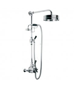 "Exposed Mackintosh Thermostatic Valve with Riser Kit, Handset, Lever Diverter, 8"" Rose & Adjustable Riser Pipe Bracket"