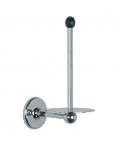 Spare Toilet Roll Holder with Black Ceramic Acorn