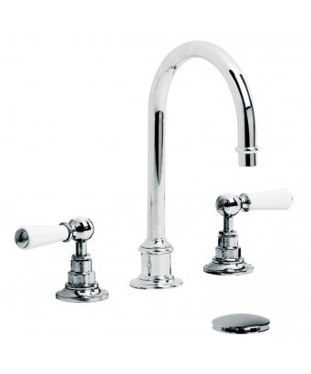 Lefroy Brooks Tubular White Lever Three Hole Basin Mixer with Click-Up Waste