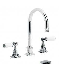 Tubular White Lever Three Hole Basin Mixer with Click-Up Waste