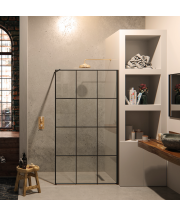 Matki One Wetroom Panel with Framed Effect - Crittall Style