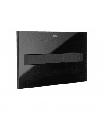 Roca PL7 Dual Flush Plate - Black Glass