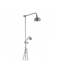 "Exposed England Thermostatic Valve with 5"" Shower Rose, Diverter Valve, Hose and Handshower on Riser Rail and Swivel Adapter"