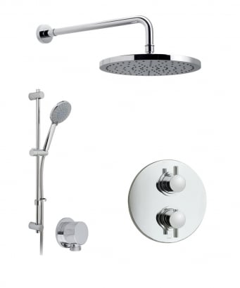Vado Celsius Thermostatic Shower Valve with 2 Way Diverter, Wall Shower Arm and 254mm Shower Head and Shower Kit and Elbow