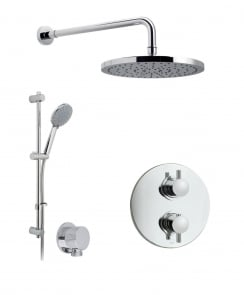 Celsius Thermostatic Shower Valve with 2 Way Diverter, Wall Shower Arm and 254mm Shower Head and Shower Kit and Elbow
