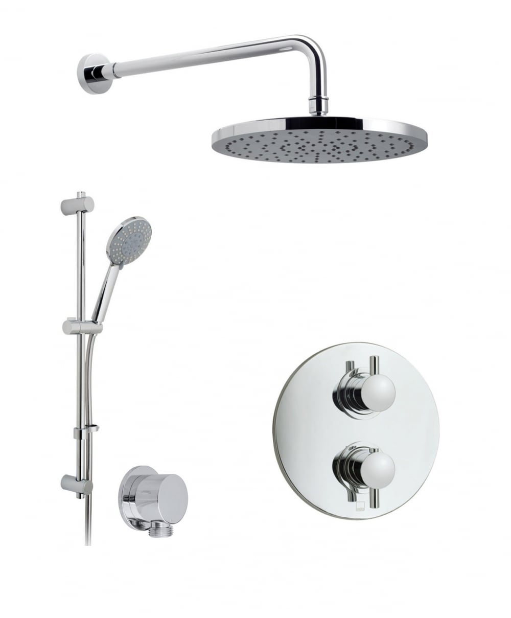Vado Celsius Thermostatic Shower Valve With 2 Way Diverter, Wall Shower Arm  And 254mm Shower ...
